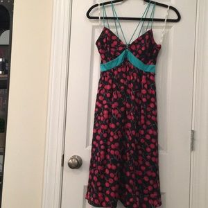 VOOM 100% silk cherry dress. Size XS!